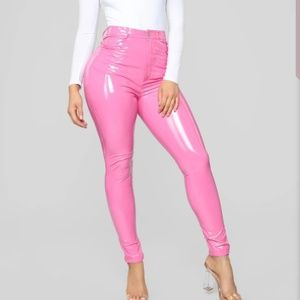 NWT Sexy Pink Vinyl Pants!